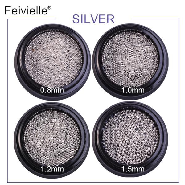 New 4 BoxsMini Steel Ball Caviar Bead 3D Nail Decoration 0.8mm-1.5mm Gold Silver Champagne Studs Manicure Nail Art Decoration