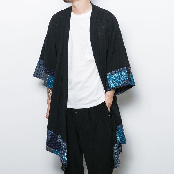 Cotton Linen Japanese Kimono Cardigan Men Trench Coat Male Autumn Long Jacket Men's Shawl Spring Jacket Mens Cape Overcoats 2018