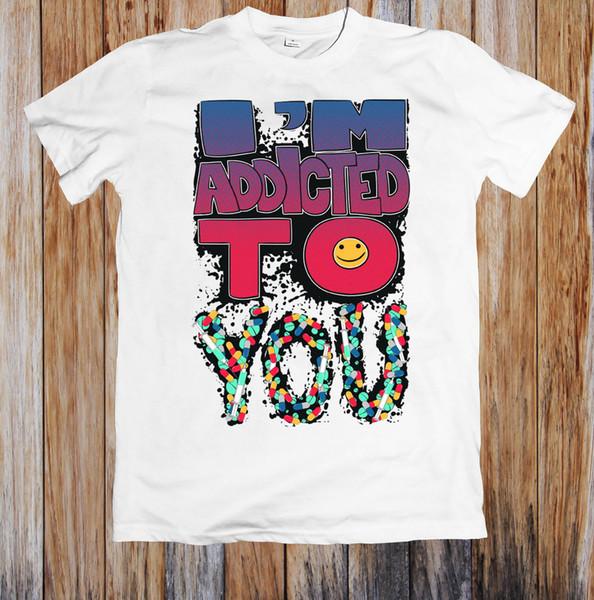 Мужская Lastest 2018 Мода короткие я зависим мужская футболка 100% хлопок повседневная печать с коротким рукавом мужчины футболка o-образным вырезом