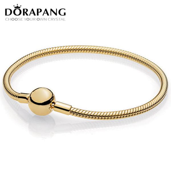 DORAPANG 100% 925 Sterling Silver New Classic Circular Letter Logo 14K Gold SHINE MOMENTS SMOOTH Bracelet Basic Snake Bracelet