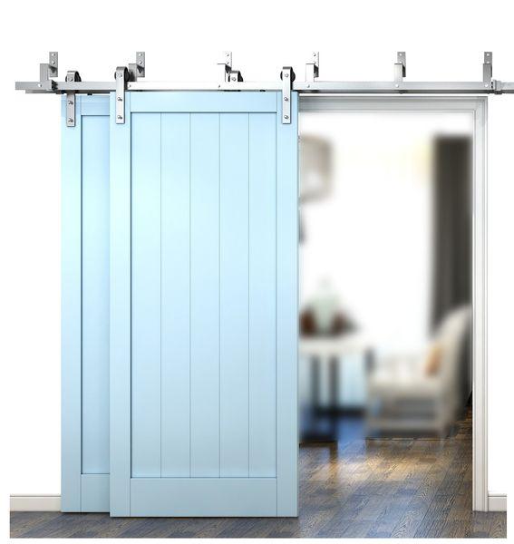 top popular DIYHD 6FT 6.6FT 8FT Brushed Nichek Sliding Barn Door Hardware Bypass Double Barn Wood Door Hanging Track Kit 2021