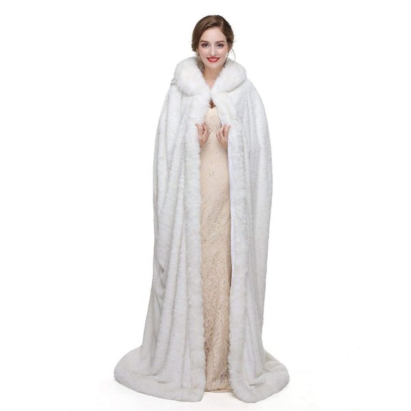 Handmade New White Long Cape with Hood Cloak Faux Fur Warm Winter Coat for Wedding Bridal