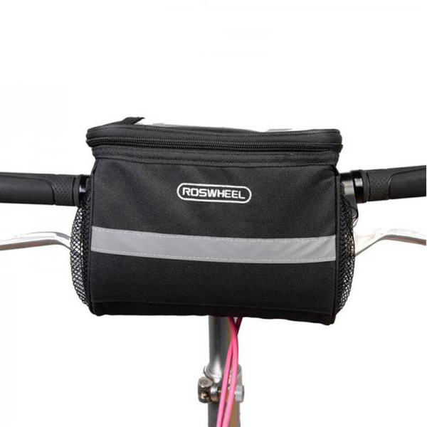 Nueva ROSWHEEL Bicicleta Bolsas delanteras Ciclismo Manillar Cesta Bicicleta Barra delantera bolsa con raya reflectante Quakeproof 11002