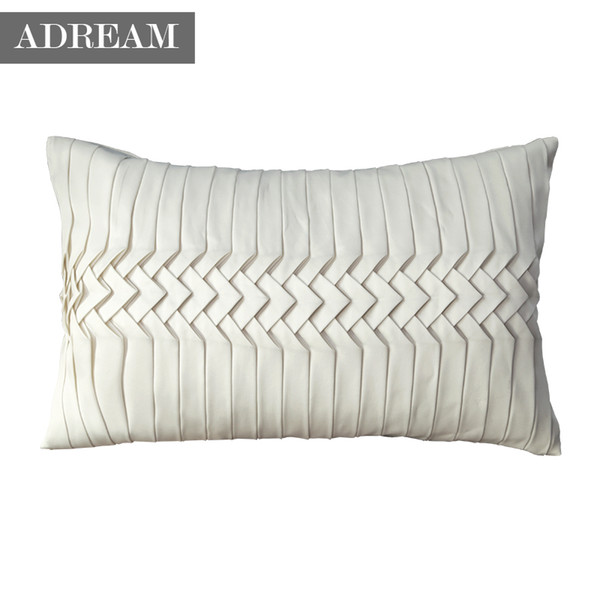Wholesale- Pillow Case Adream Decorative Throw Pillowcase, Faux Silk Cotton Seat Pillow Cover hand-made White waist pillow case