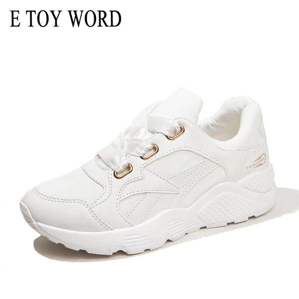 Großhandel 2019 E SPIELZEUG WORT Plattform Turnschuhe 2018 Frühling Weiß Damen Schuhe Seide Lace Up Atmungsaktives Mesh Weiblichen Freizeitschuhe