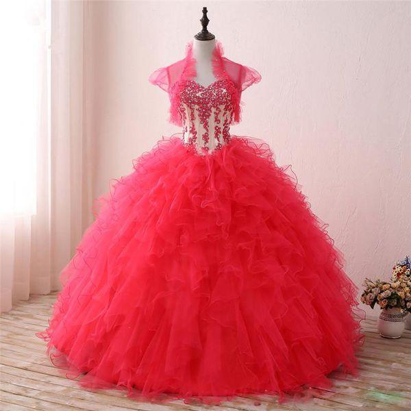 New Arrival 2019 Sweetheart Quinceanera Dresses Bicolor Ball Gown Appliques Debutante Dresses Ruffles Vestido de 15 Anos with Elegant Jacket