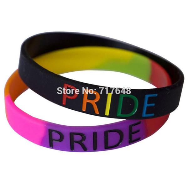 300pcs Pride Rainbow wristband silicone bracelets rubber cuff wrist bands bangle free shipping by FEDEX