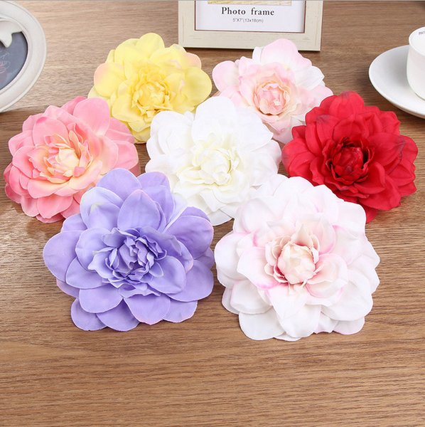 Chenflowers Artificial Silk Dahlia Flower Head Wedding Decoration DIY Wreath Gift Box Scrapbooking Craft Fake Flower 10pcs