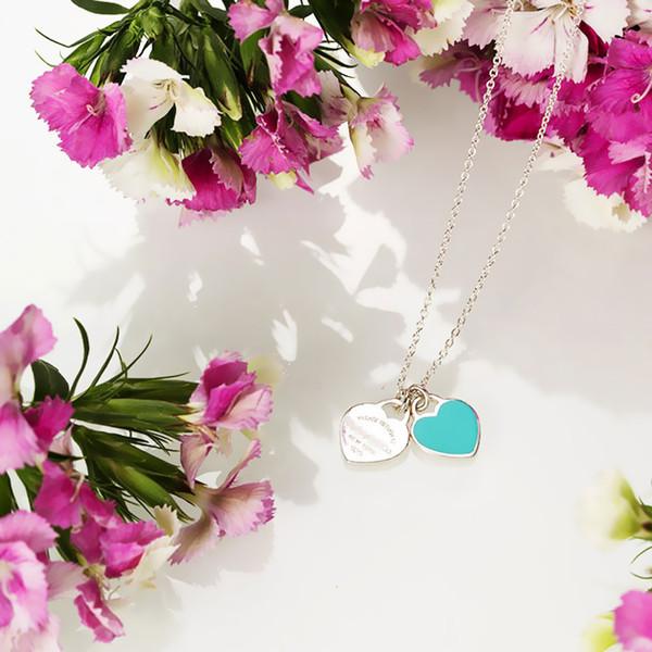 Gümüş Kolyeler Kadınlar Mavi Kalp Kolye Amerikan Marka Logo Kolye Kolye Kalp Kalp Kadın Düğün Parti Zinciri
