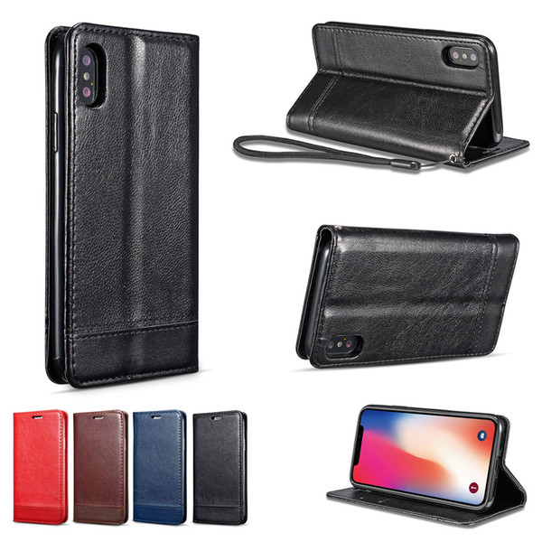 Leather Wallet Card Luxury Cover for Iphone X XS MAX XR 8 7 6 6S Plus 5 5S SE Case with Lanyard Flip Cover Man Lady Smart Bag
