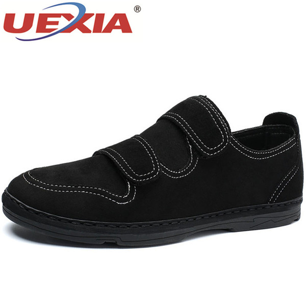 UEXIA Brand Men Leather Casual Shoes Fashion Breathable Holes White Leisure Shoes Flats Handmade Driver Footwear