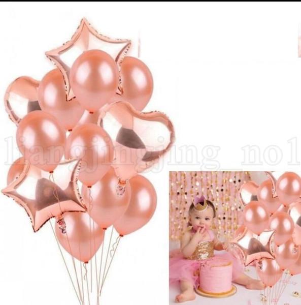 14 stücke 1 satz Rose Gold Geburtstag Luftballons Champagner Folie Stern und Herz Ballon Hochzeit Dekoration Baby Party Luftballons KKA5513