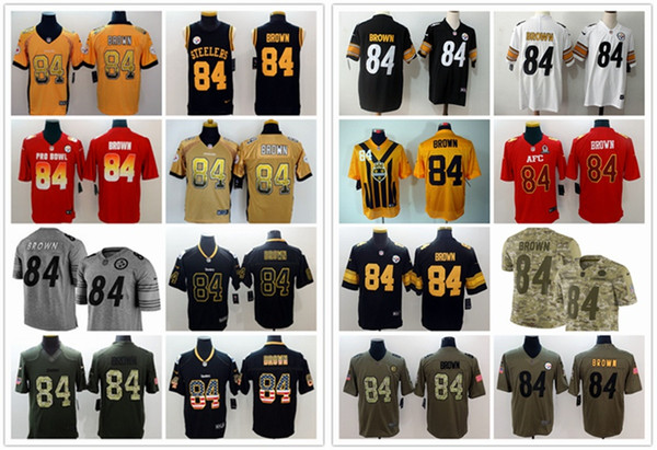reputable site 25681 387cc 2019 2019 New Mens 84 Antonio Brown Pittsburgh Jersey Steelers Football  Jerseys 100% Stitched Embroidery Antonio Brown Color Rush Football Shirts  From ...