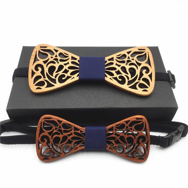 Pajaritas de madera hueca para hombre y traje de hijo Trajes de boda Pajarita de madera Forma de mariposa Bowknots Corbata de hombre Gravatas Slim Corbata