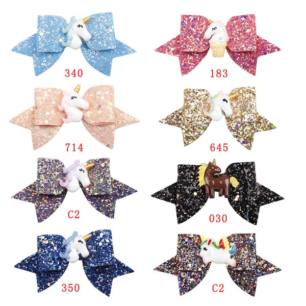 4''Chunky Glitter Girls Hair Bow Resin Unicorn Bling Bows Solid Princess Girls Hair Clips Christmas Gift Kids Boutique Hair Accessories
