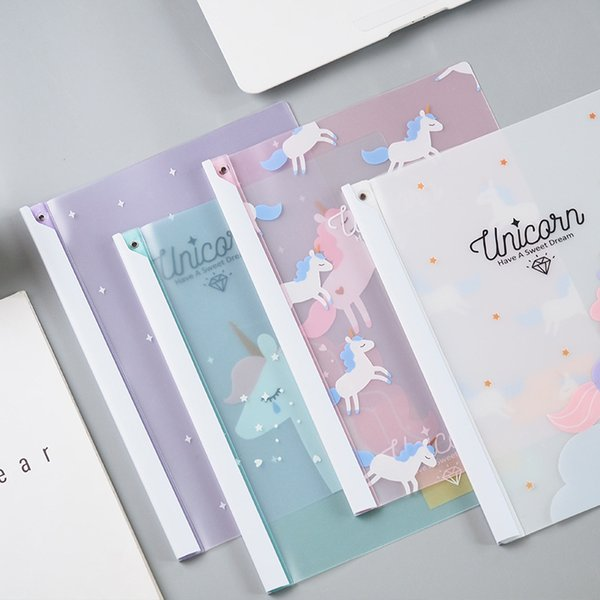 Cute Cartoon unicorn transparent PP Clip Board Document Holder Office folder Storage pouch Package for A4 paper file Folder