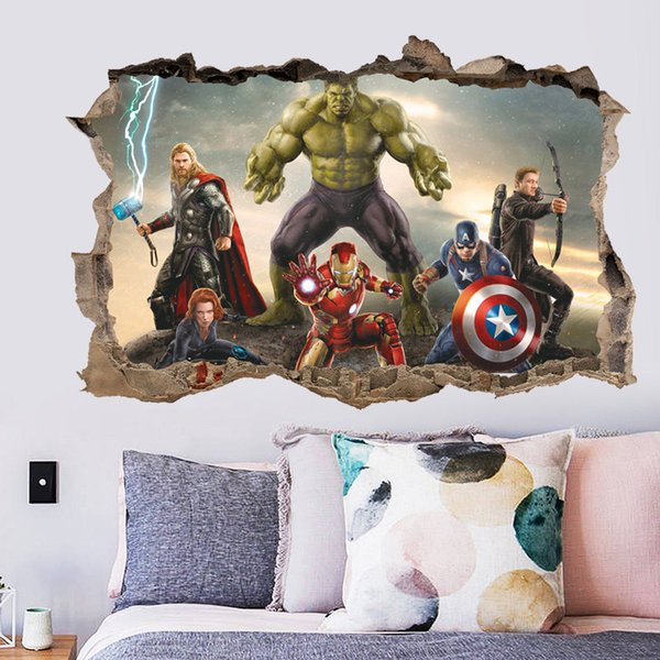 New 3D Stickers Cartoon Avengers Captain Hulk Wall Stickers Waterproof PVC Wallpapers Self-adhesive Murals Can Be Removable Boy Home Decor