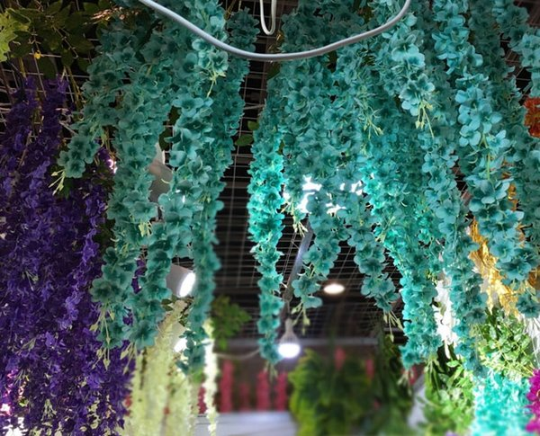 2 M long hydrangea garland hanging artificial wed flower for wed decoration aisle arch gazebo in white blue purple