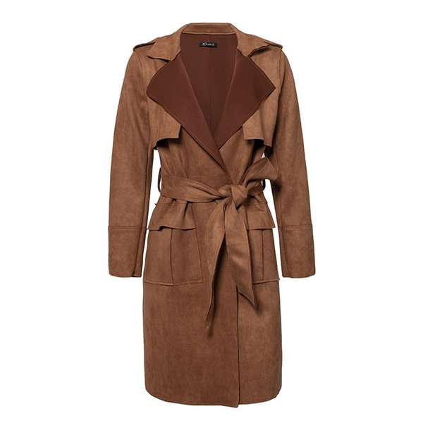 2018 Turn down collar sash suede trench coat Casual leather pocket long women autumn coat Winter warm outwear overcoat female
