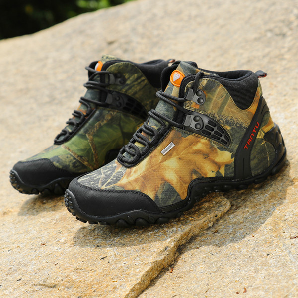 Men Autumn Winter Outdoor Waterproof Mountaineering Shoes Wear-resistant Camouflage Boots Resistant Climbing Hiking Working Boots US12