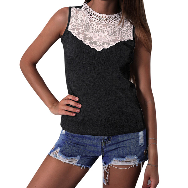 Elegant Womens Knitted Tops Sleeveless Blouses Sexy Lace Patchwork Sleeveless Top Slim Crochet Ladies Tee Shirts Blusa Female