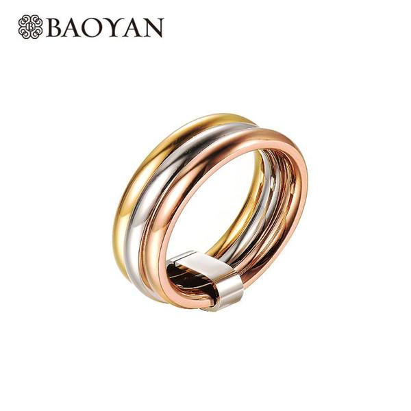 Baoyan Fashion Elegant Acciaio inossidabile 316L Argento Oro rosa Colore triplo Anello a fascia per donna N1