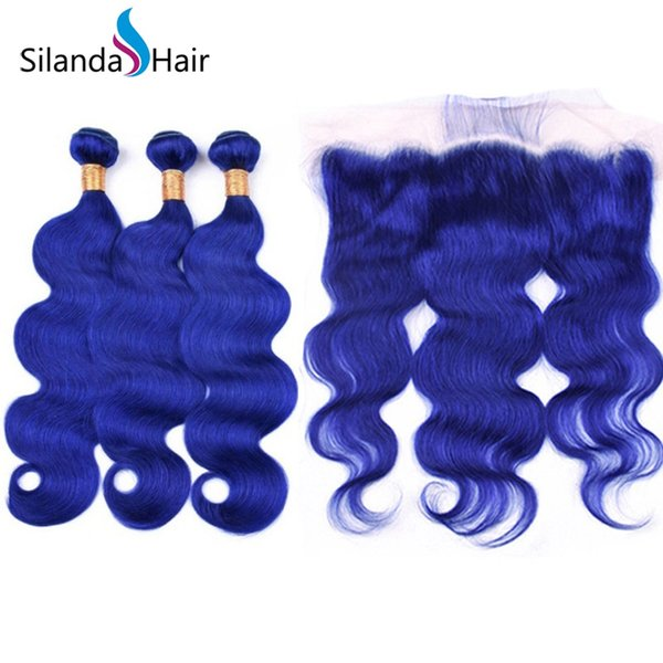 Silanda Hair Premium Blue Body Wave Brazilian Remy Human Hair Wefts 3 Weaving Bundles With 13X4 Lace Frontal Closure Free Shipping