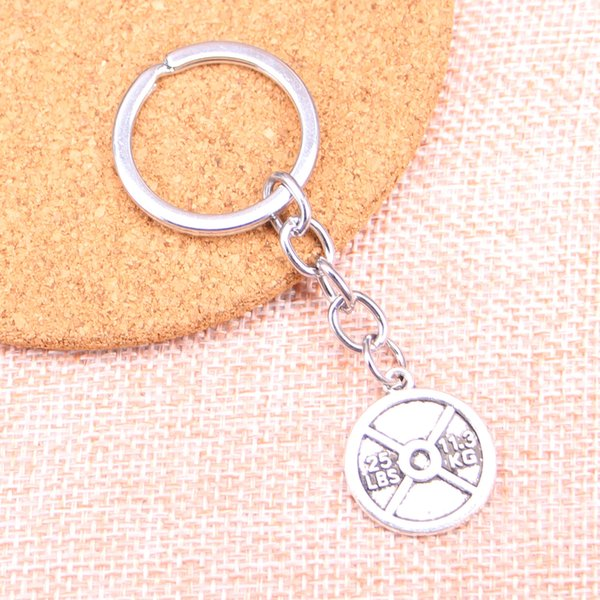 Fashion 28mm Key Ring Metal Key Chain Keychain Jewelry Antique Silver Plated barbell disc weight 25lbs 11.3kg 23*20mm Pendant