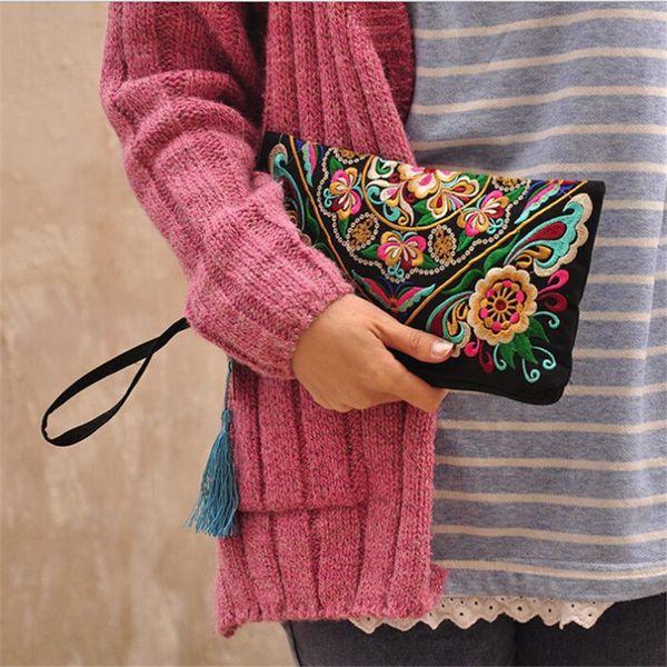 National Retro Butterfly Flower Bags Handbag Women Coin Purse Lady Clutch Wallet Tassel Small Embroidered Ethnic Flap Bolsa
