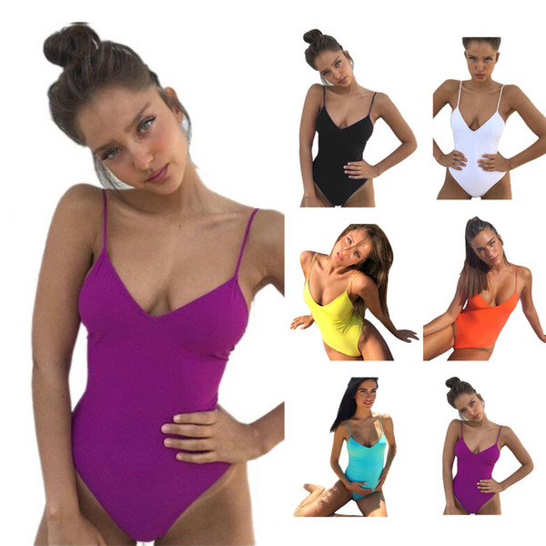 2018 Women Swimsuit One Pieces Swimwear Female Stripe Bikini Push Up Jumpsuit Vest Bathing Suit Beach Bather Summer