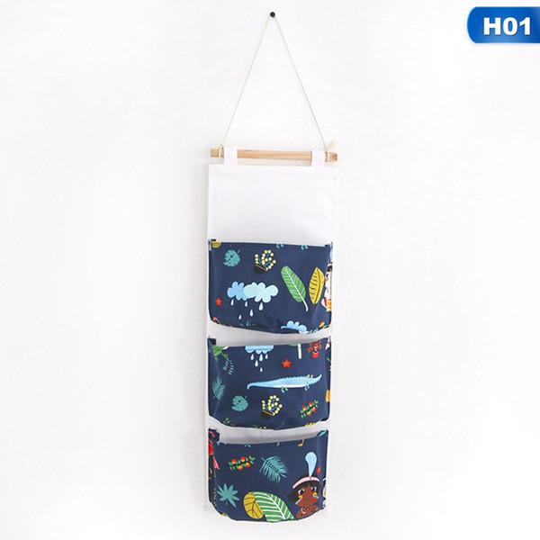 Cartoon Cotton Linen Door Hanging Bag Multi Pockets Wall Mounted Storage Bag Sundries Organizer Pouch Waterproof Storage Bags