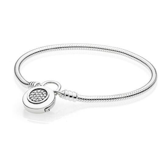 925 Sterling Silver Pan Bracelet Moments Smooth Bracelet With Signature Padlock Fit Lady Beads Charm Pendant Jewelry