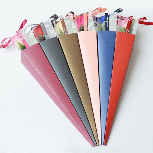 Flores Delicadas Caixa De Presente Embalagem Única Rosa Titular PVC Triângulo Caixa Com Fita Floral Arragement Florista Suprimentos ZA3213