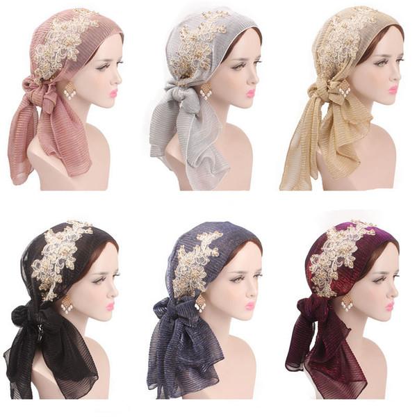 Women Muslim Turban Long Tail Hijab Scarf Cap Elegant Bandanas Embroidery Beads
