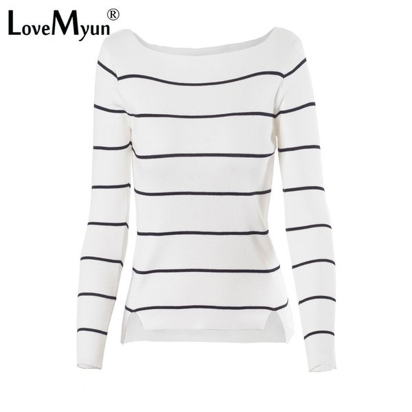 2aa96d531f 2018 Autumn Winter Casual Black White Striped Long Sleeve Knit Women Slim Sweater  Pullovers Jumpers