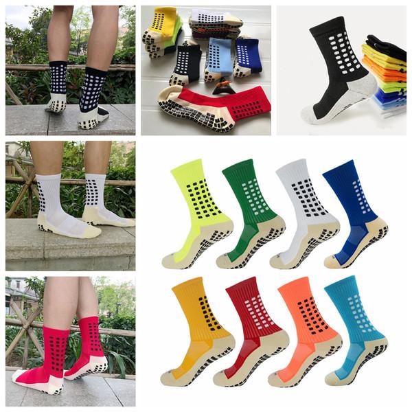 9 Colors Mens Anti Slip Sport Soccer Socks Cotton Breathable Football Socks Tocksox Trusox Style AAA304