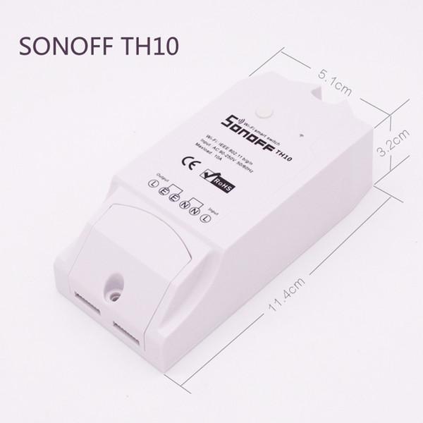 Sonoff TH10 Smart Home Automation WiFi Smart Switch Sensore di temperatura e umidità Telecomando tramite smartphone