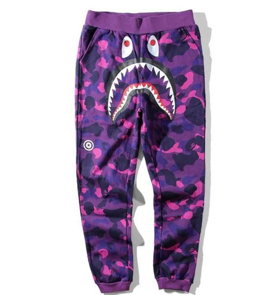 happybaby0129 / 2018 Nuevo Adolescente Hip Hop Personalidad Tiburón Boca Impresión de Camuflaje Pantalones Casuales Masculino Hip Hop Foot Sport Pantalones Cargo P
