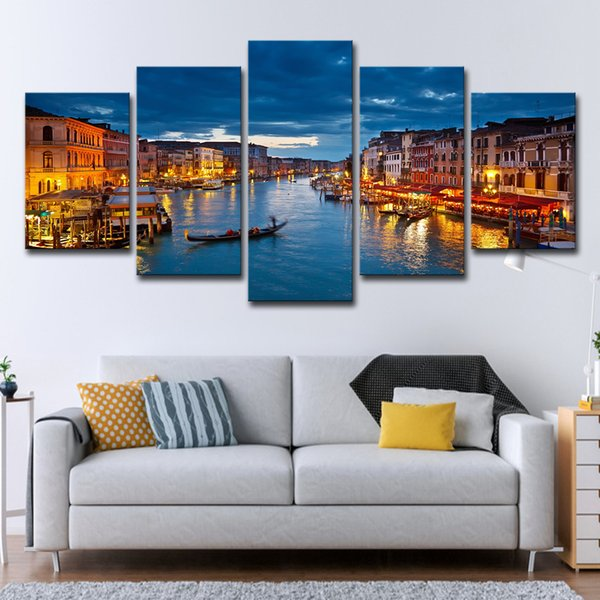 Canvas Pictures Wall Art Frame Home Decor 5 Pieces DJ Night Club Of Mural Bar Production Painting Music Dance Hall Prints Poster
