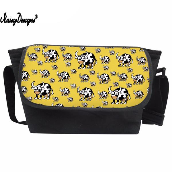 Messenger Bag Girls Cartoon Animals Prints Crossbody Bag Children Cow Pattern Shoulder for Kids Cute Satchel