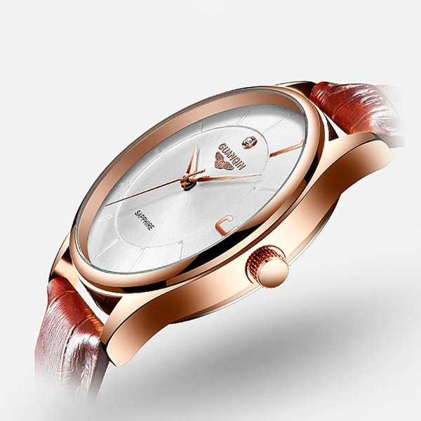 GUANQIN Lovers Watches For Men Womens Faux Leather Strap Quartz Watch Men's Sports Clock Women's Dress Wrist Watch Couple Gift