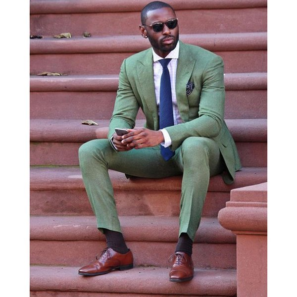 2018 Cool Fashion Army Green Men Suit Attractive Party Prom Tuxedo Mens Casual Style Daily Work Wear Suits (Jacket+Pants+Tie)