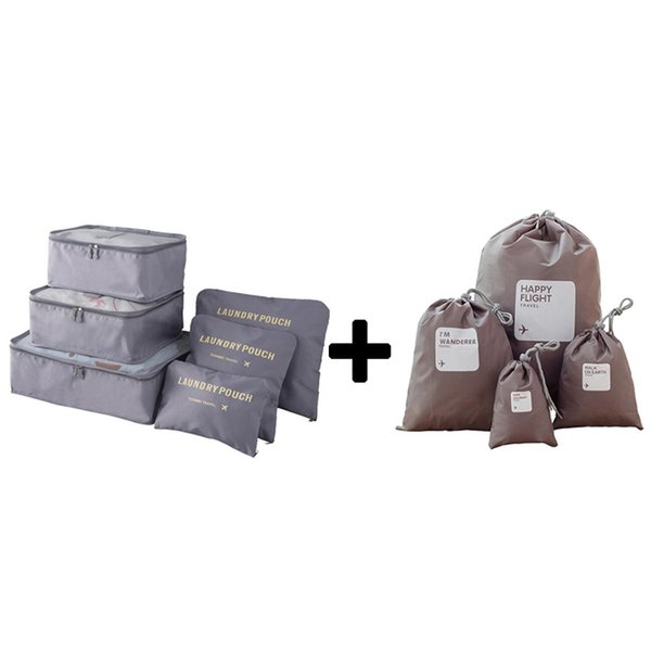 2018 Packing Cube women Travel Bags Zipper Waterproof 6 Pieces One Set Big Capacity Of Bags Unisex Clothing Sorting Organize Bag