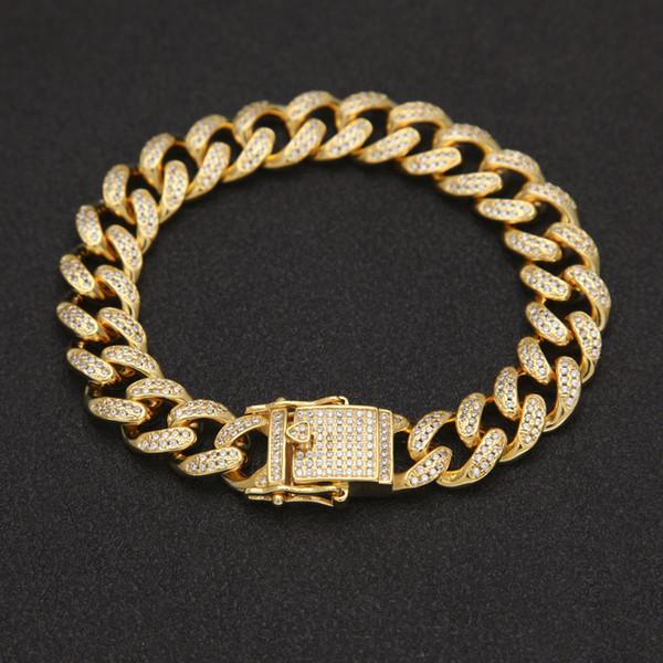 Hip Hop Armband Männer Zirkon Curb Cuban Link Armband Gold Silber Dicke schwere Kupfer Material Iced Out CZ Kette 8 Zoll