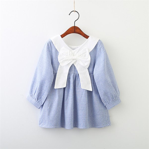 Hot Selling NEW Arrival Summer Girls Long Sleeve Dress High Quality Cotton Baby Kids Plaid Bow Dress Free Shipping