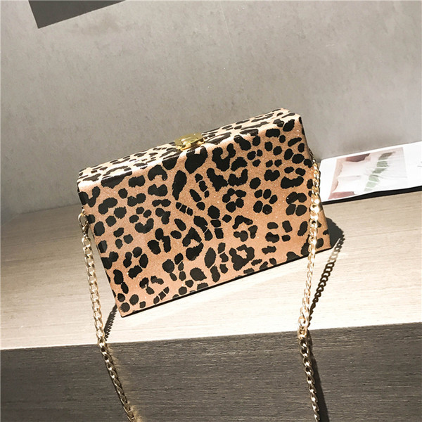 Stylish handbags women bags Leopard Print Small Square Package Chain Single Shoulder Crossbody Bag Purses and Handbags