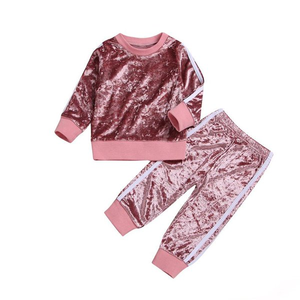 2018 Latest Autumn Baby Girls Sets Kids Sports Striped Velvet Top +Pants 2pcs Suit Children Fashion Casual Outfits Pink and Gray