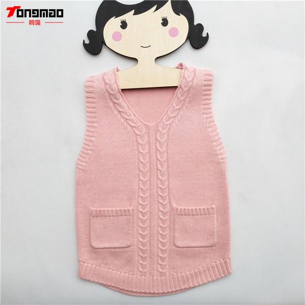 Kinder Mädchen Pullover Warme Weiche Wolle Kinder Mädchen Pullover Casual Solide V-ausschnitt Kaschmir Gestrickte Weste Baby Pullover Kleidung