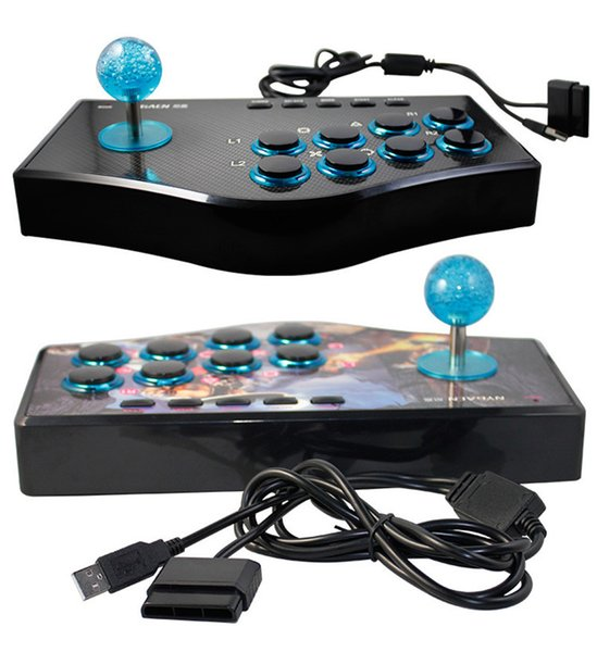 Arcade Joystick for PC PS2 PS3 For Smart TV with 1.8 Meter Cable and Built-in Vibrator Eight Direction Joystick