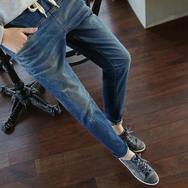 Lguc.H Fit 200 kg Femmes Lâche Grand Grand Taille Casual Crayon Jeans Pantalon Cordon Vintage Femelle Bleu Élastique Denim Pant 5XL